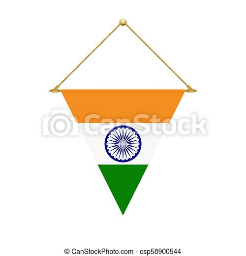 Indian triangle flag hanging, vector illustration