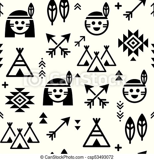 Vector Apache Tribal Wallpaper In Black And White Perfect For Baby Nursery Decor Indians Cute Design