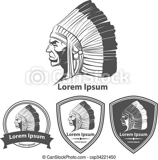 Indian Warrior Head Profile Logo Indian Warrior Head Profile View