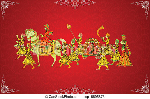 Easy To Edit Vector Illustration Of Indian Wedding Card