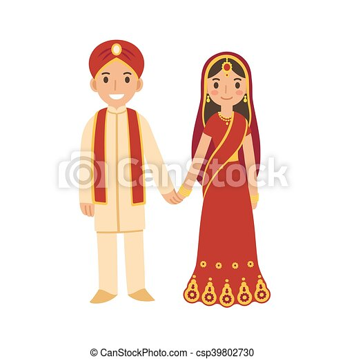 Indian Wedding Couple Vector