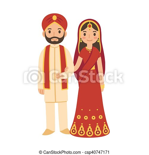 Indian Wedding Couple In Traditional Clothing Cute
