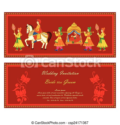 Vector illustration of indian wedding invitation card clip art vector illustration of indian wedding invitation card stopboris Gallery