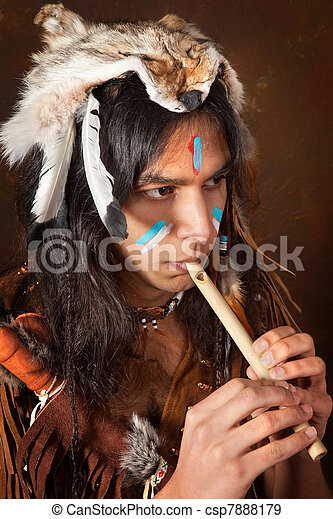 Indian with flute - csp7888179