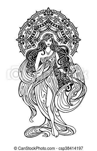 indian, woman., 東洋人, アジア人, 装飾, mandala - csp38414197