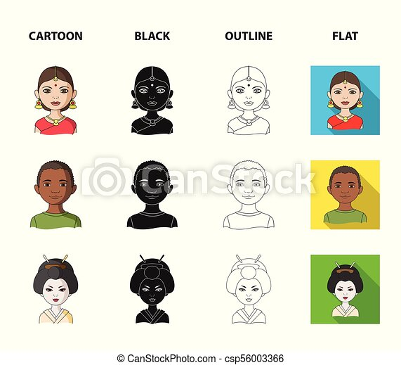 Indian Woman African Japanese Indian Human Race Set Collection Icons In Cartoon