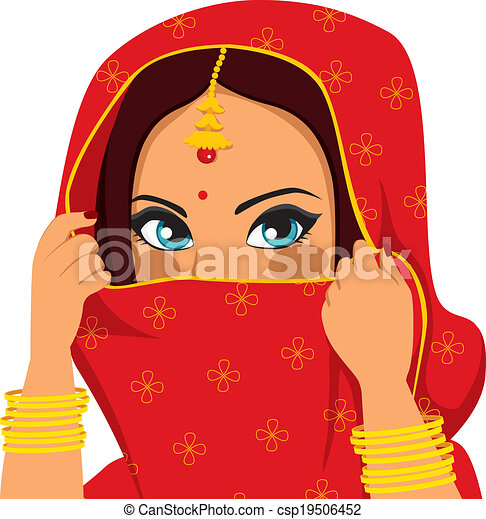Indian Woman Covering Face - csp19506452