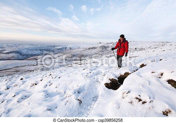 Indian woman hiking in winter - csp39856258