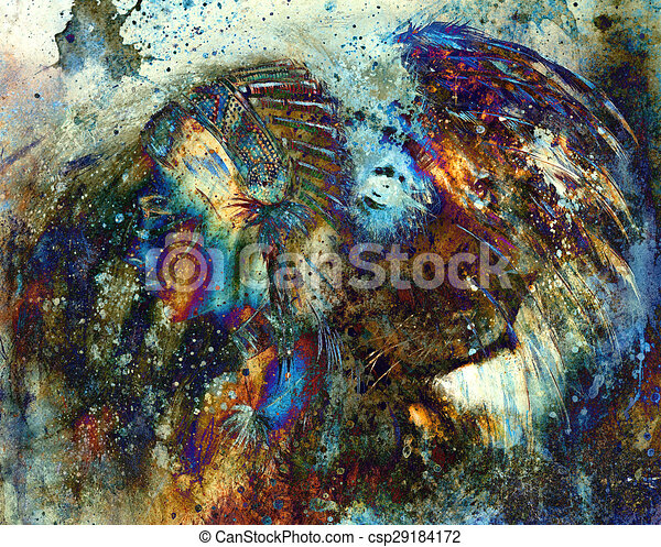 b584f36fcc1 indian woman wearing feather headdress with lion and abstract color  collage. - csp29184172