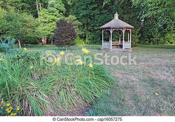 indiana, gazebo, flores, cidade faculdade universitária - csp16057275