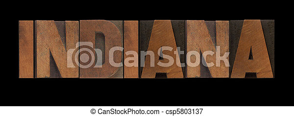 Indiana in old wood type - csp5803137