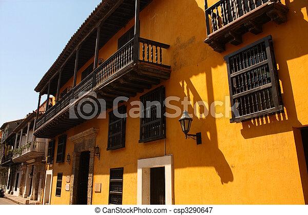 Calle de la Cartagena de las Indias, Columbia - csp3290647