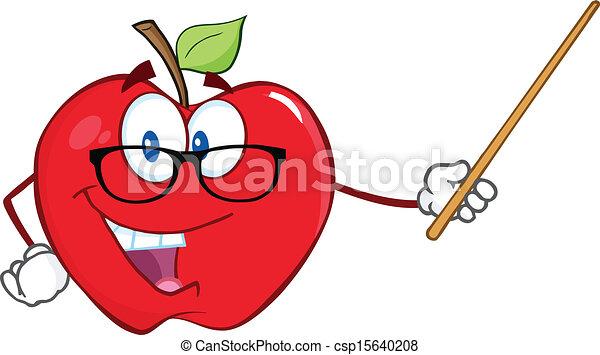 Profesor de manzana con un puntero - csp15640208