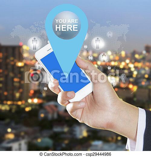 indicateur, emplacement, ici, signe - csp29444986
