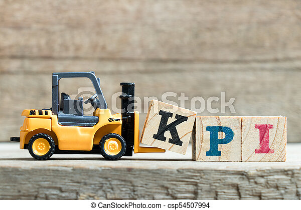 indicator), speelbal, woord, compleet, (abbreviation, k, vorkheftruck, achtergrond, gele, hout, klee, kpi, brief, opvoering, houden, blok - csp54507994
