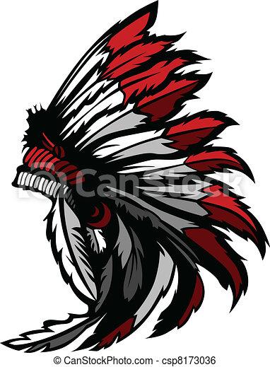 Indien Amérique Indigène Tête Plume