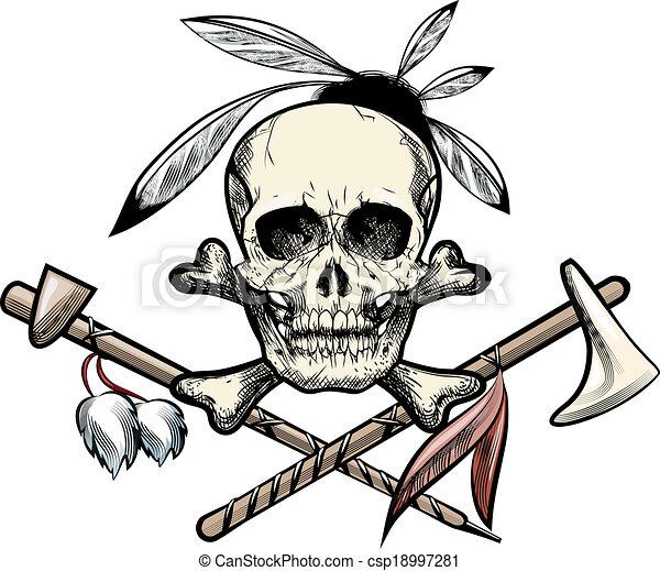 Indien cr ne tatouage croquis cr ne tomahawk plumes vecteur search clip art - Tatouage crane indien ...