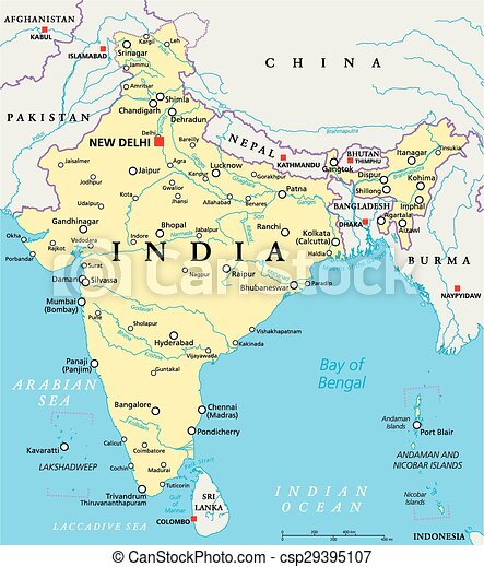 Indien Politisk Karta Delhi Karta Scaling Illustration