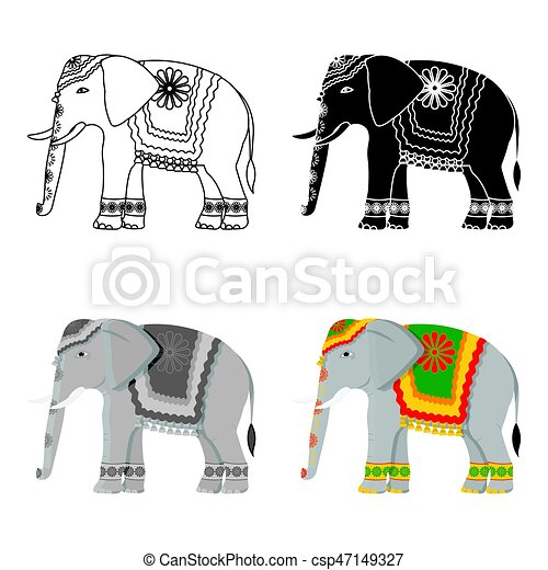 indien style illustration symbole inde isol arri re plan vecteur l phant blanc. Black Bedroom Furniture Sets. Home Design Ideas
