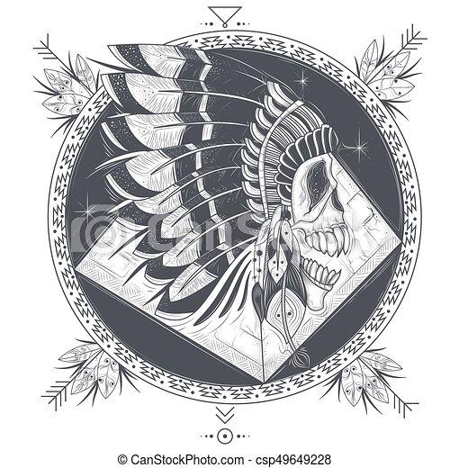 Indien tatouage gabarit cr ne illustration vecteur illustration vectorielle - Tatouage crane indien ...