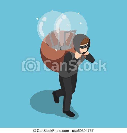 indietro, isometrico, suo, luce, rubato, ladro, idea, portante, bulbo - csp60304757