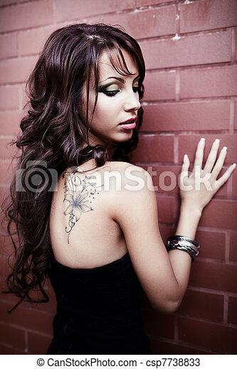 indietro, tatuaggio, lei, sensuale, donna, sexy - csp7738833