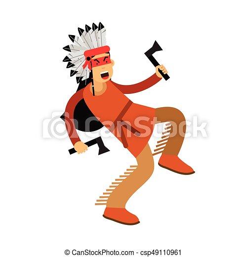 Indio nativo americano con traje tradicional bailando con dos tomahawks vector Illustración - csp49110961