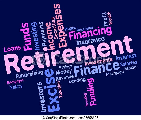 indique, fonctionnement, retraite, retraité, finition, mot - csp28658635