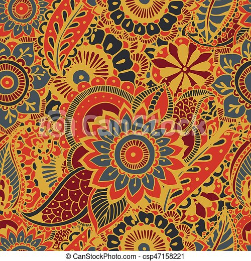 Indische Paisley Tapete Elements Bunte Muster Ornament