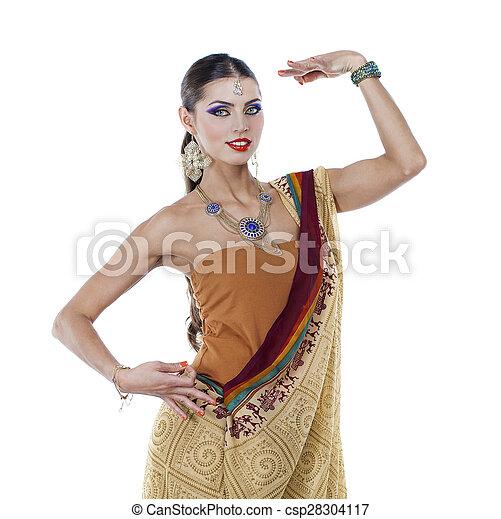 Ung Nätt Kvinna I Indisk Klänning Fotografering för