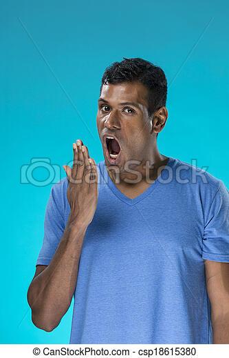 indisk, trött, man, yawning. - csp18615380