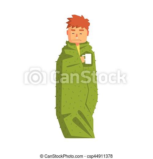 indisposé, sentiment, maladie, froid, souffrance, avoir, chaud, emballé, adulte, personne, couverture, malade, type, boisson - csp44911378