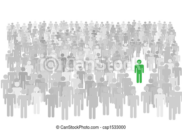 Individual person stands out from large crowd of symbol people - csp1533000