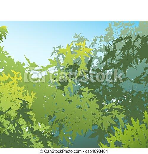 individually, verano, diferente, follaje, colorido, ser, -, edited, separado, movido, capas, illustrationthe, gráficos, vector, tan, lata, ellos, fácilmente, o, paisaje - csp4093404