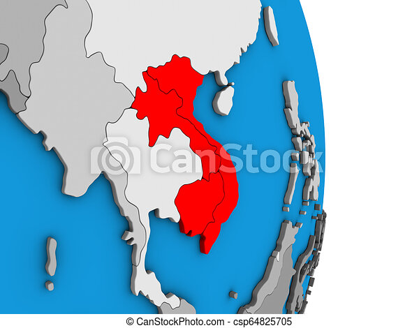 Indochina on 3D globe - csp64825705