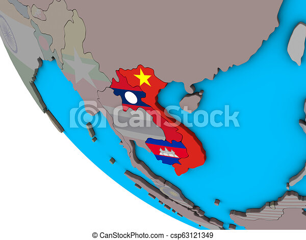 Indochina with flags on 3D globe - csp63121349