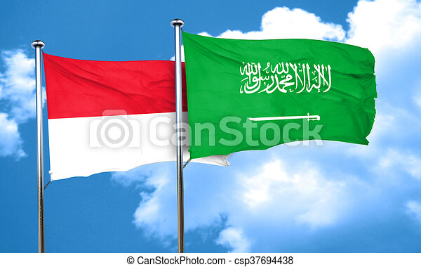 Indonesia flag with Saudi Arabia flag, 3D rendering - csp37694438