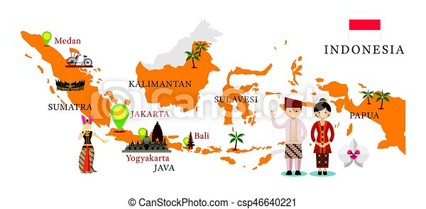 Indonesia map and landmarks with people in traditional clothing. Culture, travel and tourist