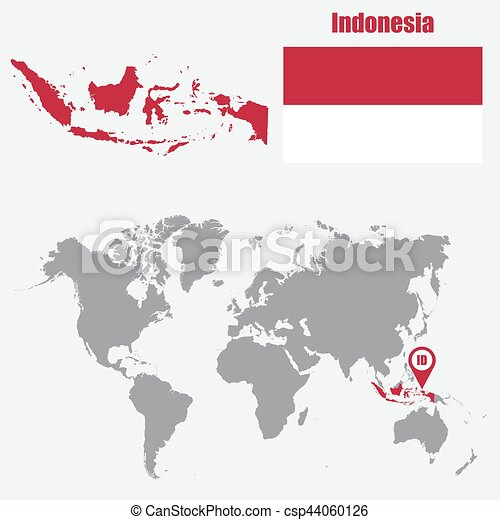 Indonesia map on a world map with flag and map pointer. Vector illustration