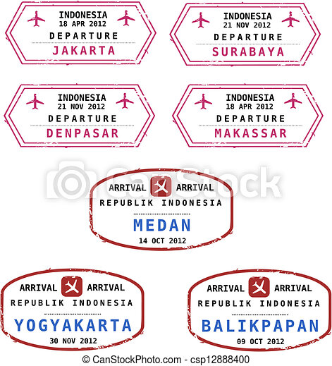 Indonesia Passport Stamps Travel From Grungy