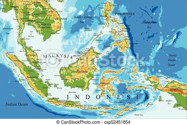Indonesia physical map Highly detailed physical map of clipart