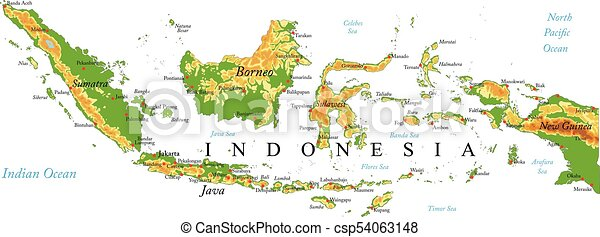 Cartina Bali Indonesia.Indonesia Relief Map Highly Detailed Physical Map Of Indonesia In Vector Format With All The Relief Forms Regions And Big Canstock