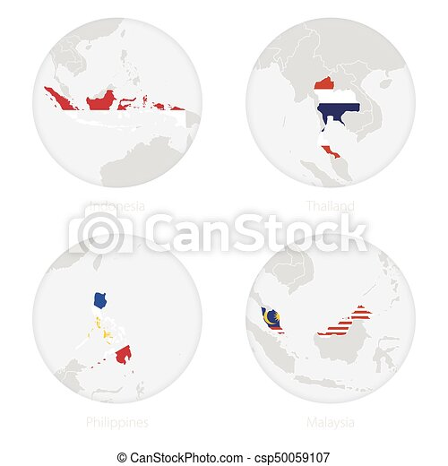 Indonesia Thailand Map.Indonesia Thailand Philippines Malaysia Map Contour And National