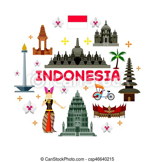 Indonesia travel attraction label. Landmarks, tourism and vector clip art  Search