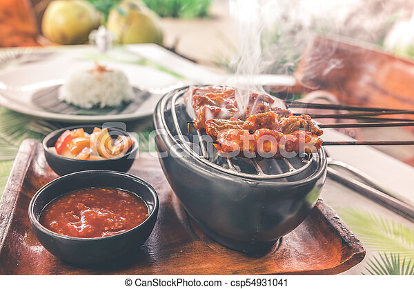 Indonesian chicken satay or Sate Ayam. Indonesian balinese traditional food. Bali island. - csp54931041
