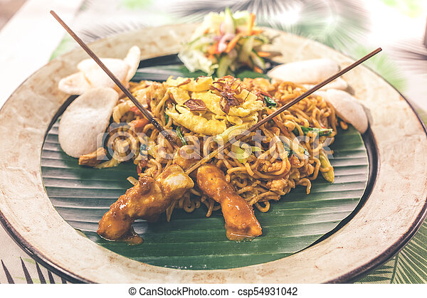 Indonesian chicken satay or Sate Ayam. Indonesian balinese traditional food. Bali island. - csp54931042