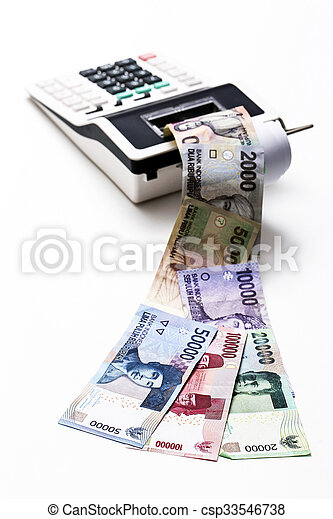 indonesiano, soldi, calcolatore, rupiah, essere sorteggiato - csp33546738