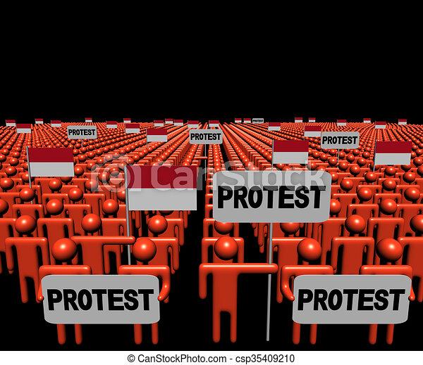 Mucha gente con signos de protesta e ilustraciones de banderas indonesias - csp35409210