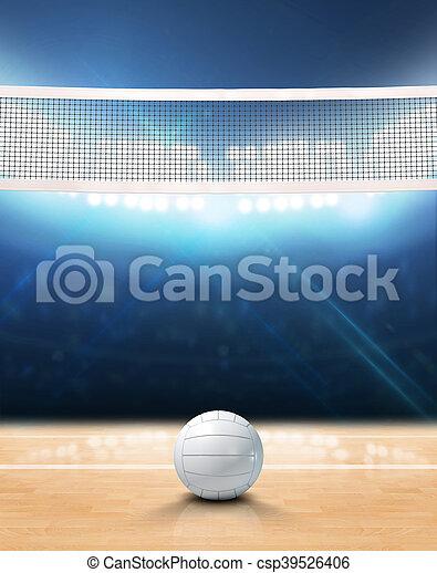 Indoor floodlit volleyball court. A 3d rendering of an indoor ...