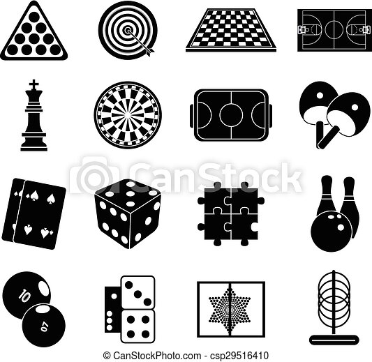 Indoor Games Icons Set In Black.